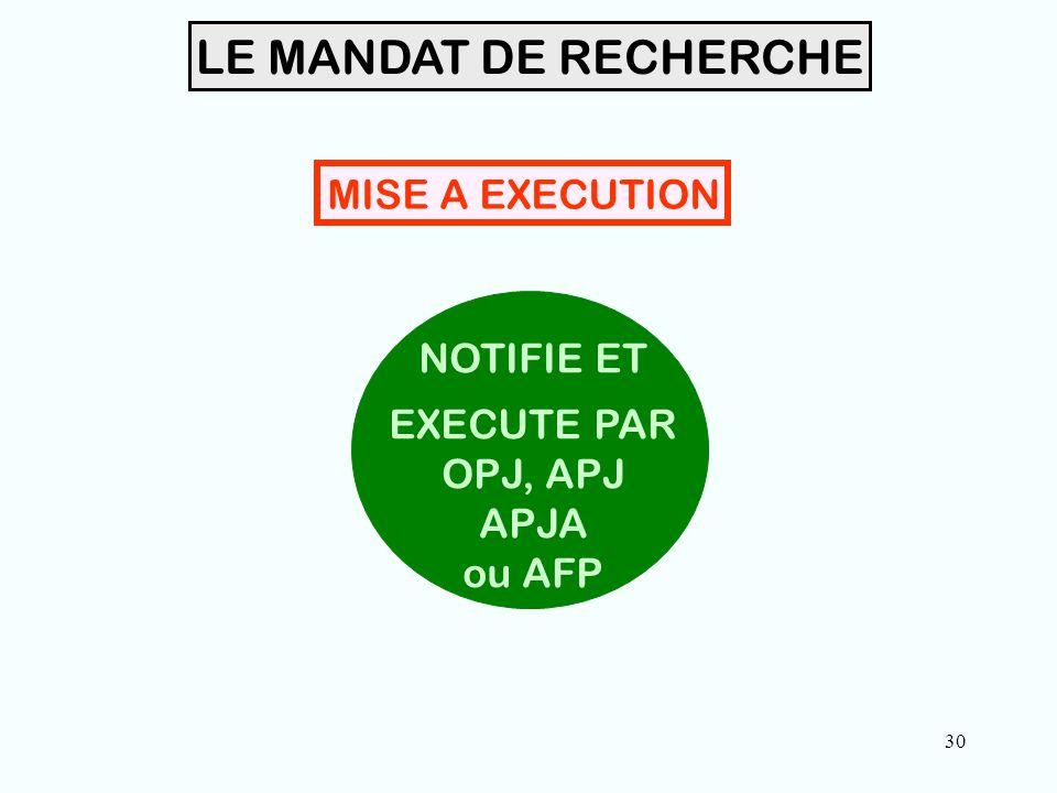 30 LE MANDAT DE RECHERCHE NOTIFIE ET EXECUTE PAR OPJ, APJ APJA ou AFP MISE A EXECUTION