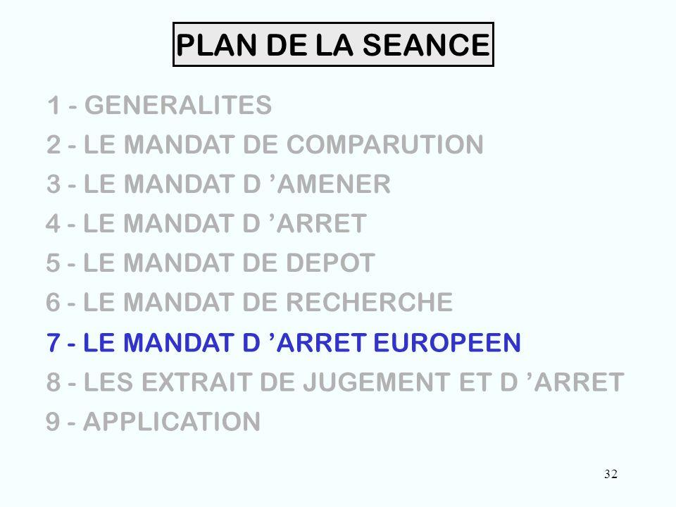 32 PLAN DE LA SEANCE 1 - GENERALITES 2 - LE MANDAT DE COMPARUTION 3 - LE MANDAT D 'AMENER 4 - LE MANDAT D 'ARRET 5 - LE MANDAT DE DEPOT 6 - LE MANDAT DE RECHERCHE 7 - LE MANDAT D 'ARRET EUROPEEN 8 - LES EXTRAIT DE JUGEMENT ET D 'ARRET 9 - APPLICATION