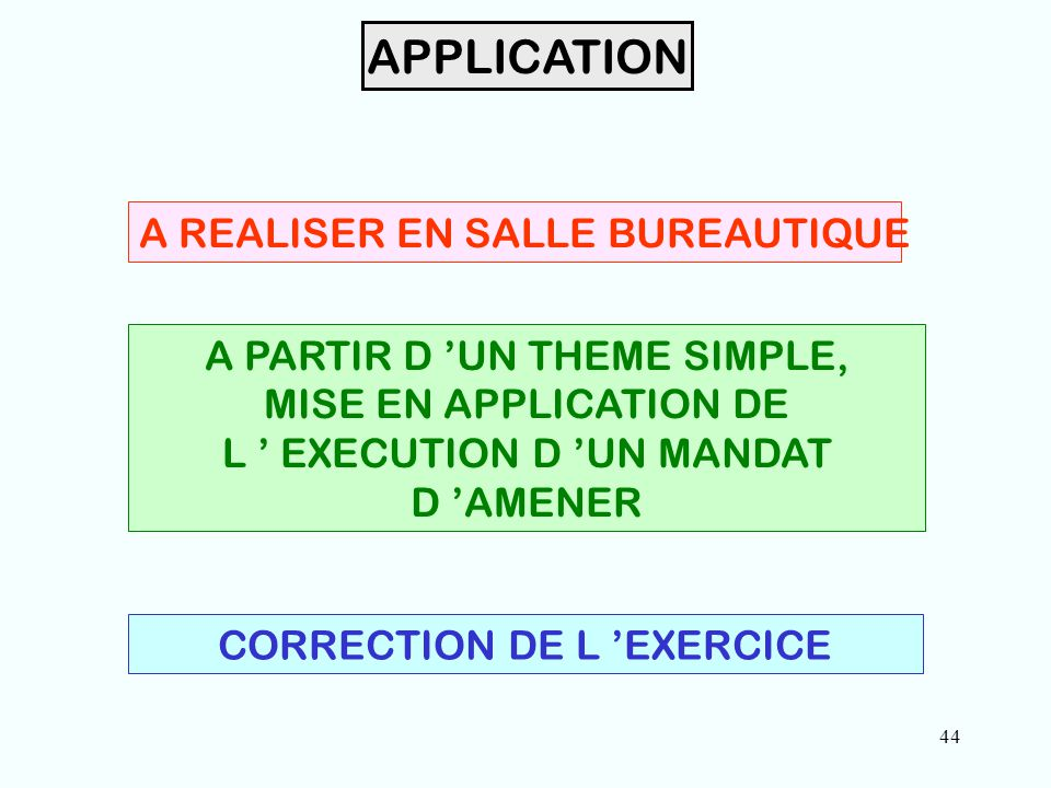 44 APPLICATION A REALISER EN SALLE BUREAUTIQUE A PARTIR D 'UN THEME SIMPLE, MISE EN APPLICATION DE L ' EXECUTION D 'UN MANDAT D 'AMENER CORRECTION DE