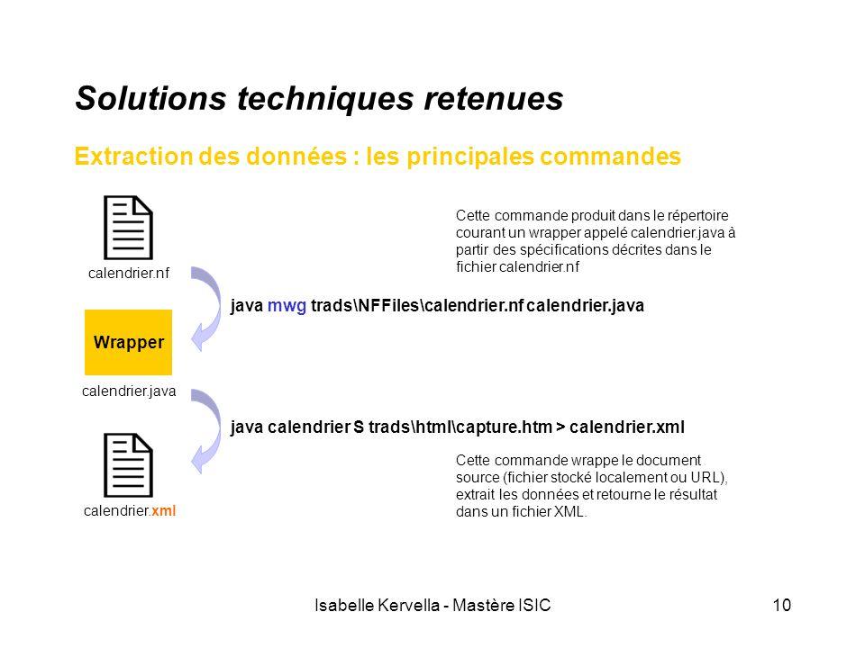Isabelle Kervella - Mastère ISIC10 Solutions techniques retenues Extraction des données : les principales commandes calendrier.nf java mwg trads\NFFil