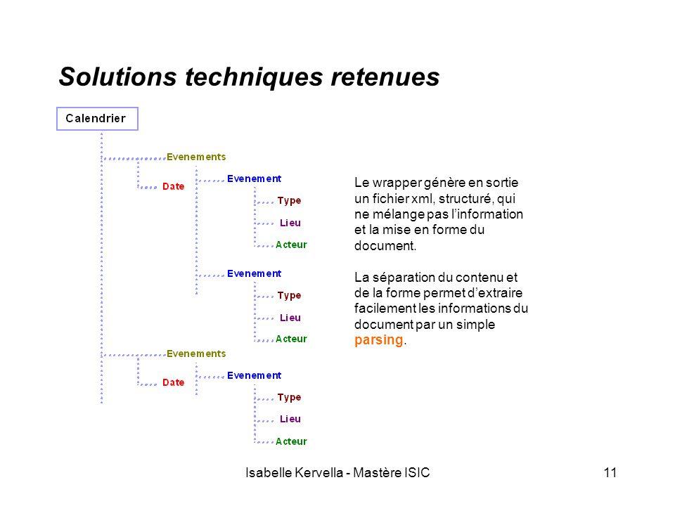 Isabelle Kervella - Mastère ISIC11 Solutions techniques retenues Le wrapper génère en sortie un fichier xml, structuré, qui ne mélange pas l'information et la mise en forme du document.