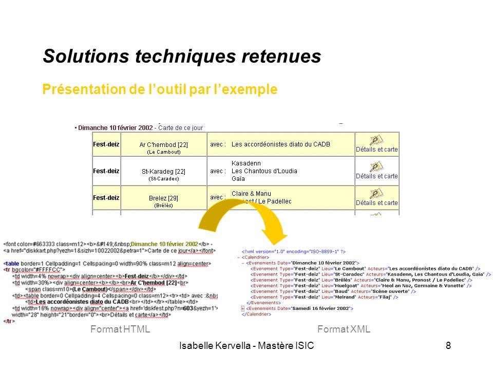 Isabelle Kervella - Mastère ISIC9 Solutions techniques retenues Écriture de la grammaire (fichier nf) HTML : Fest-deiz Grammaire nf : $TypeEvt { out.print( XML : <Evenement Type= Fest-deiz En complément, consulter le tutorial fourni avec la documentation d'Araneus !