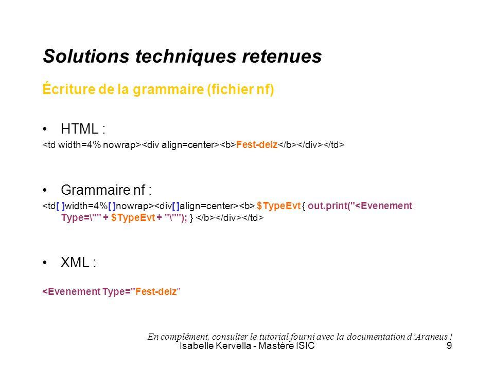 Isabelle Kervella - Mastère ISIC9 Solutions techniques retenues Écriture de la grammaire (fichier nf) HTML : Fest-deiz Grammaire nf : $TypeEvt { out.p