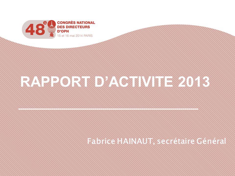 RAPPORT D'ACTIVITE 2013 Fabrice HAINAUT, secrétaire Général
