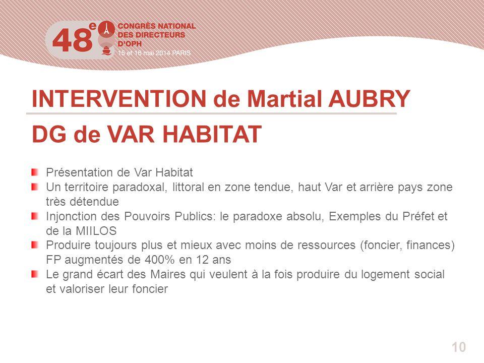 INTERVENTION de Martial AUBRY DG de VAR HABITAT Présentation de Var Habitat Un territoire paradoxal, littoral en zone tendue, haut Var et arrière pays