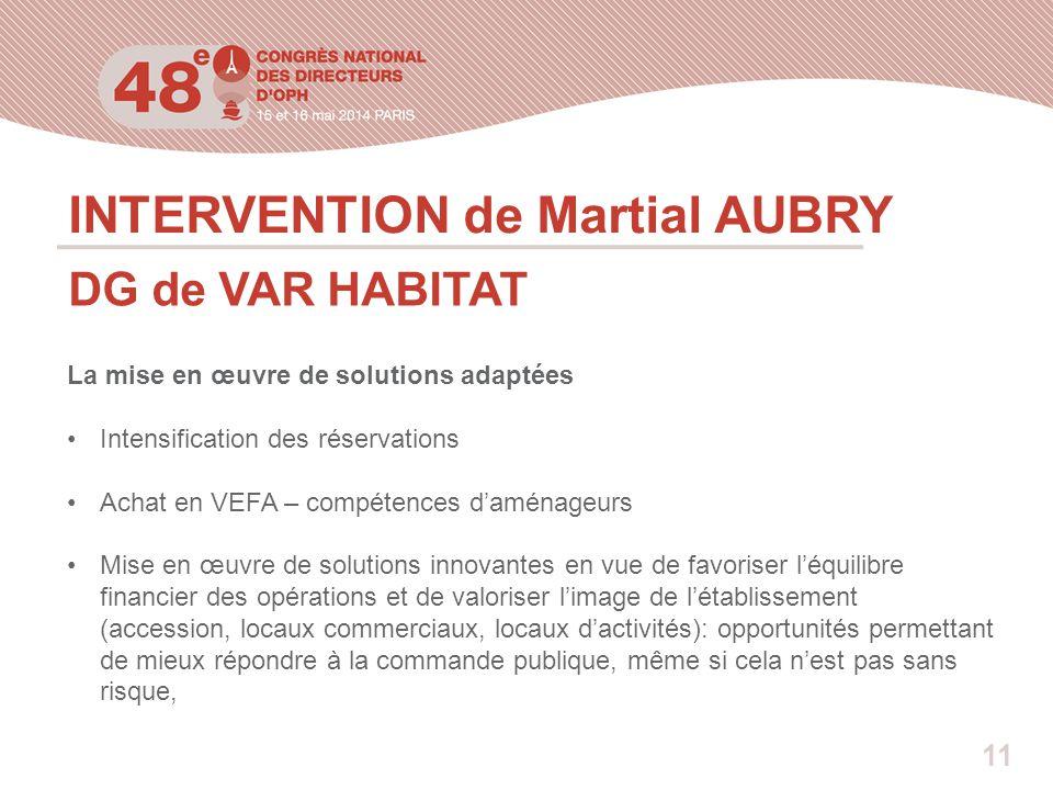 INTERVENTION de Martial AUBRY DG de VAR HABITAT La mise en œuvre de solutions adaptées Intensification des réservations Achat en VEFA – compétences d'