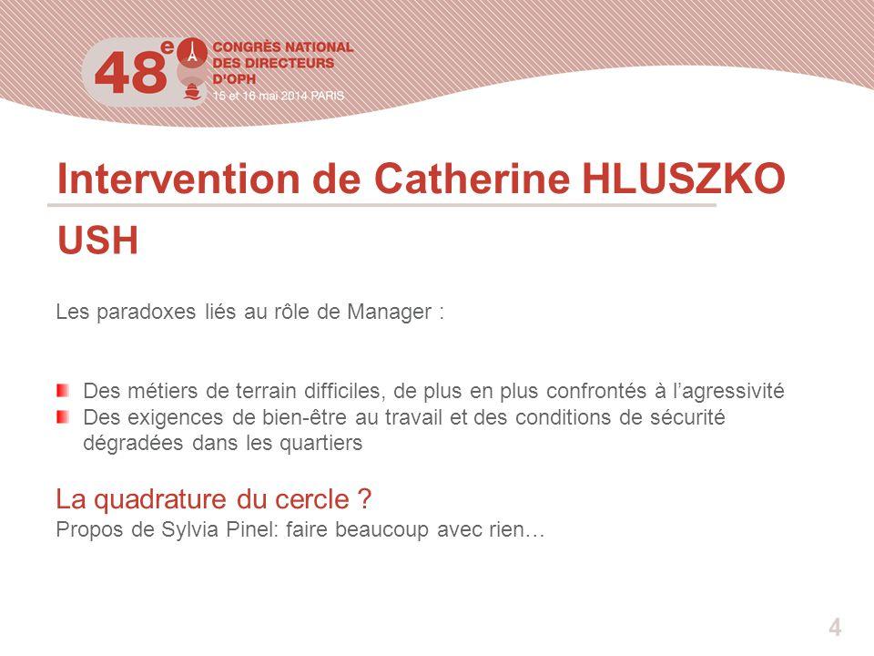 Intervention de Catherine HLUSZKO USH Les paradoxes liés au rôle de Manager : Des métiers de terrain difficiles, de plus en plus confrontés à l'agress