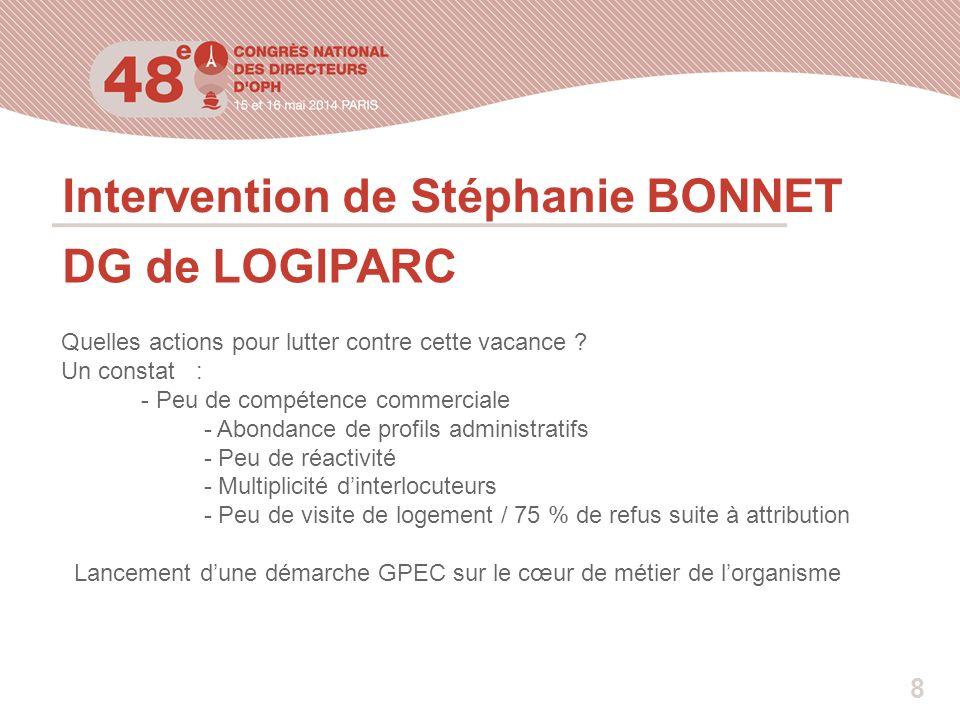 Intervention de Stéphanie BONNET DG de LOGIPARC Quelles actions pour lutter contre cette vacance ? Un constat : - Peu de compétence commerciale - Abon