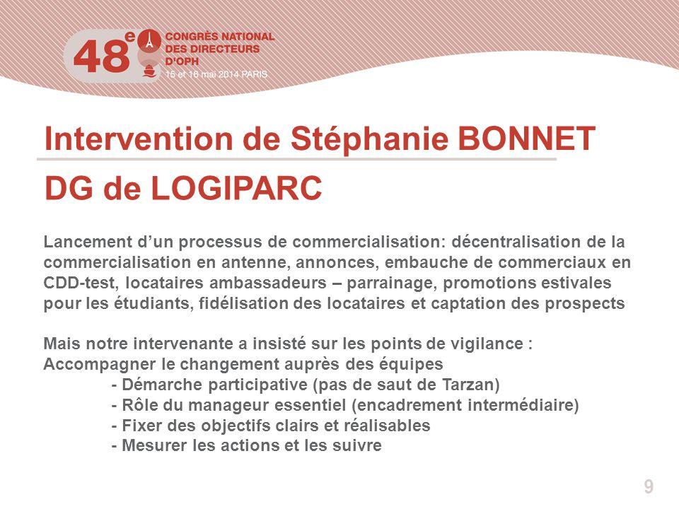 Intervention de Stéphanie BONNET DG de LOGIPARC Lancement d'un processus de commercialisation: décentralisation de la commercialisation en antenne, an