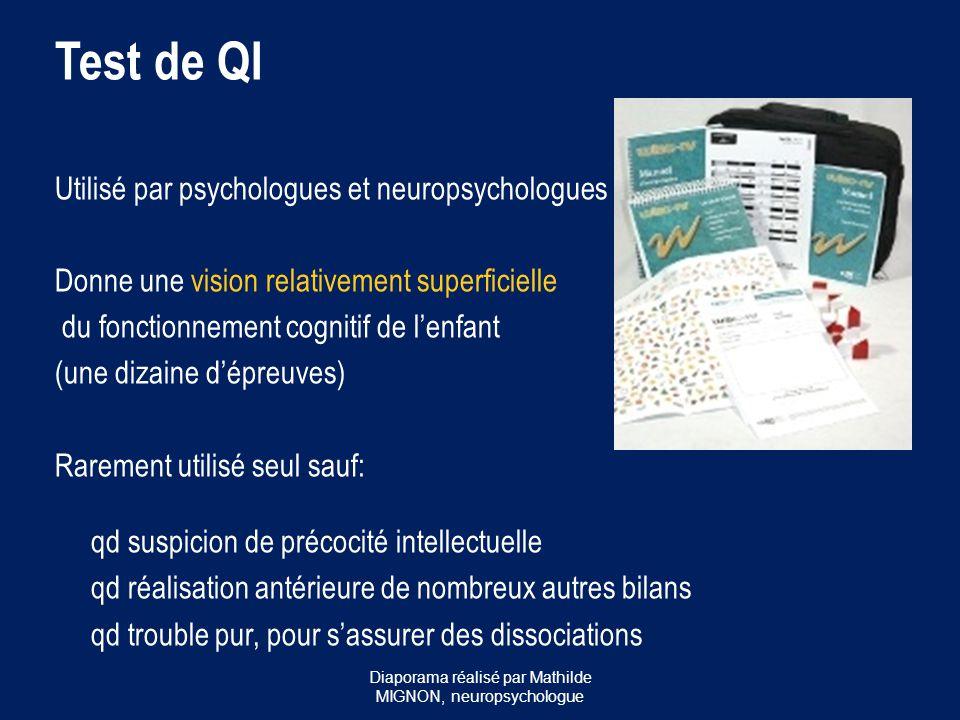 Test de QI Utilisé par psychologues et neuropsychologues Donne une vision relativement superficielle du fonctionnement cognitif de l'enfant (une dizai