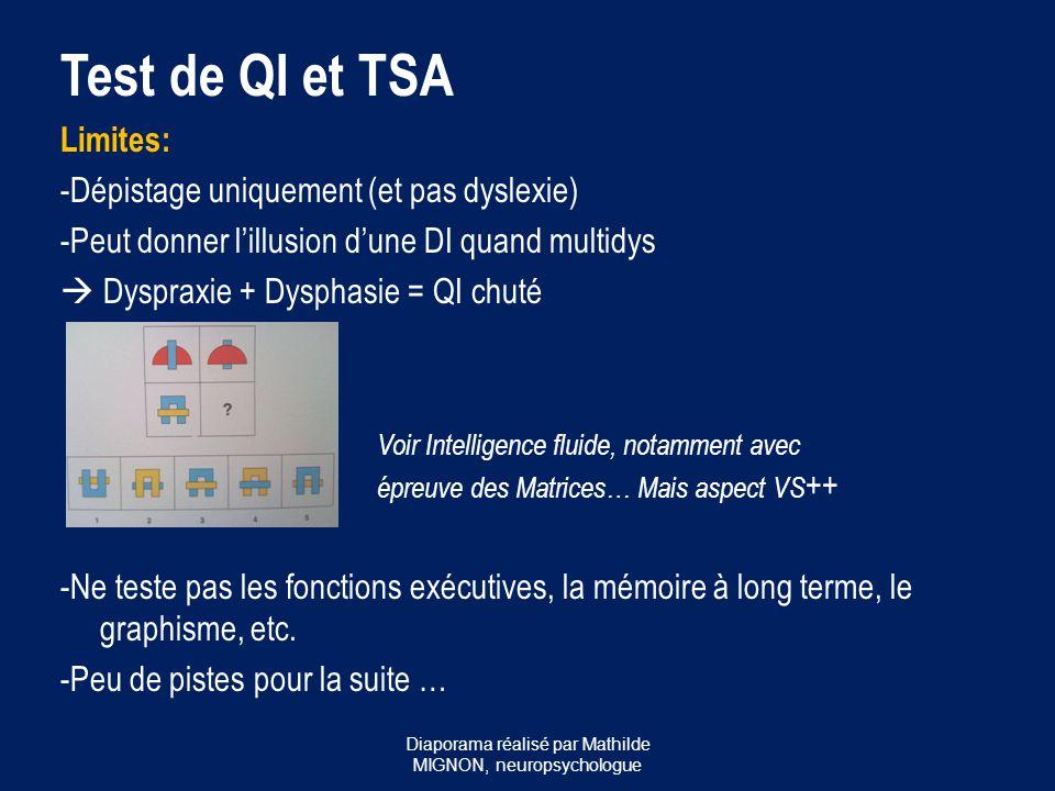 Test de QI et TSA Limites: -Dépistage uniquement (et pas dyslexie) -Peut donner l'illusion d'une DI quand multidys  Dyspraxie + Dysphasie = QI chuté