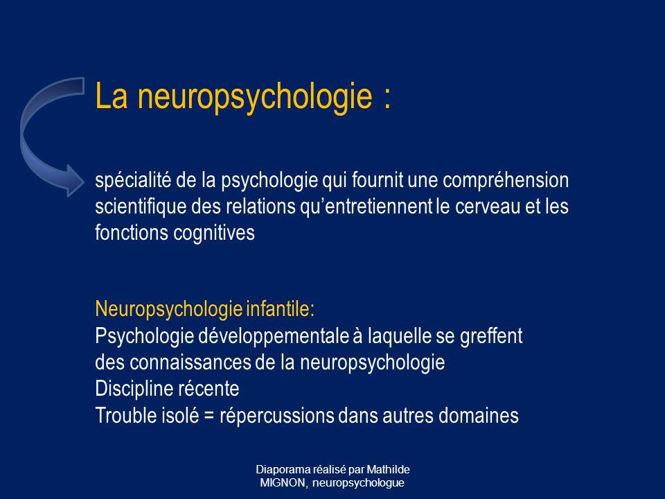 Le neuropsychologue : - porte le titre protégé de psychologue - a validé au minimum 5 années d'études universitaires en psychologie dont 2 ans de spécialisation en neuropsychologie - s'intéresse aux fonctionnements et dysfonctionnements cognitifs d'un point de vue neurologique  évaluation/prise en charge - pas de psychothérapie Diaporama réalisé par Mathilde MIGNON, neuropsychologue