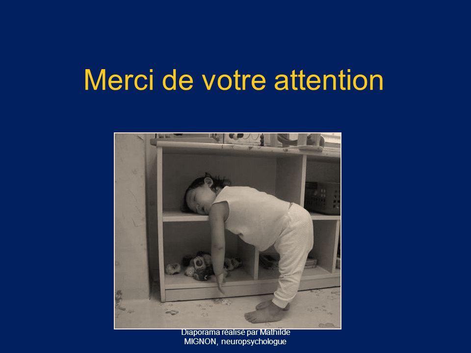 Merci de votre attention Diaporama réalisé par Mathilde MIGNON, neuropsychologue