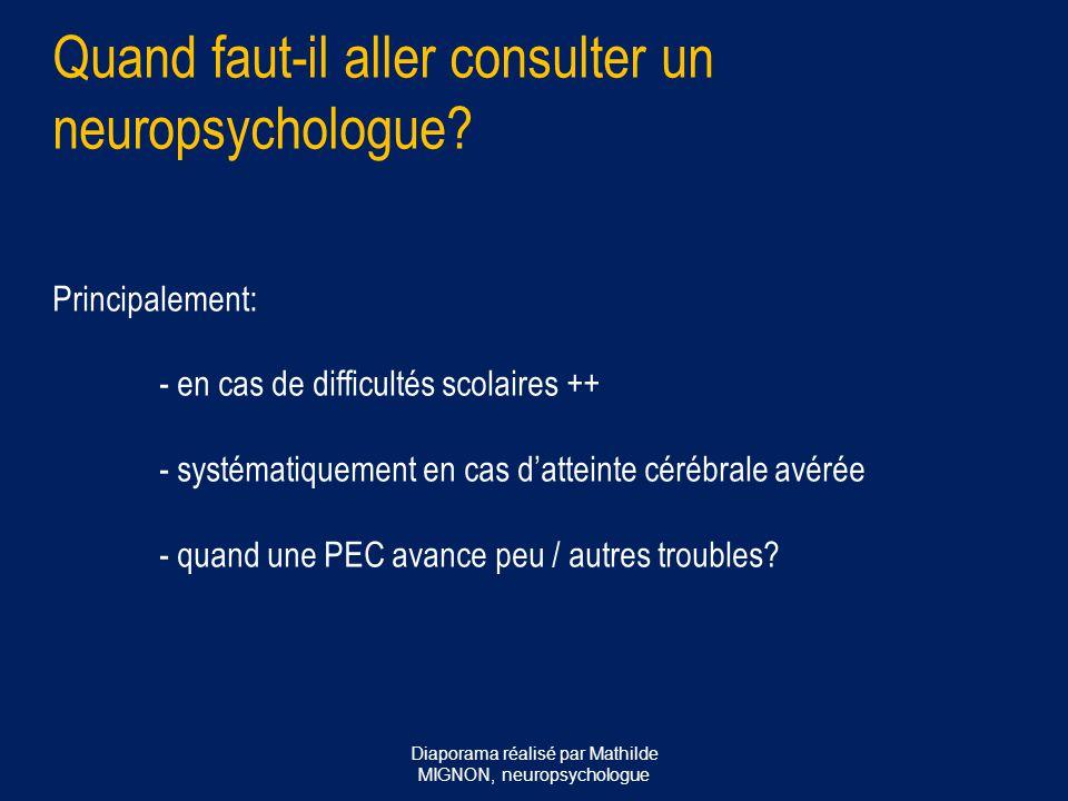 Quand faut-il aller consulter un neuropsychologue? Principalement: - en cas de difficultés scolaires ++ - systématiquement en cas d'atteinte cérébrale
