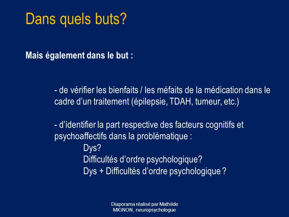 Rôle du neuropsychologue dans le diagnostic des troubles spécifiques des apprentissages: - tous les troubles spécifiques des apprentissages (dyspraxie, dyslexie, dysphasie, dyscalculie, TDAH) bilan neuropsychologique au moins pour s'assurer du bon fonctionnement des autres domaines cognitifs  SPECIFICITE DU TROUBLE Diaporama réalisé par Mathilde MIGNON, neuropsychologue