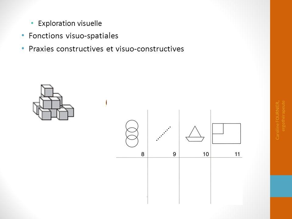 Exploration visuelle Fonctions visuo-spatiales Praxies constructives et visuo-constructives Caroline FOURNIER, ergothérapeute