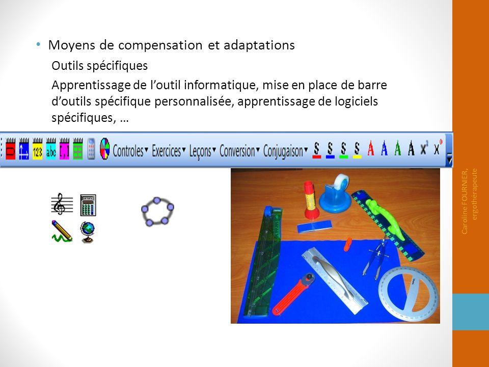 Moyens de compensation et adaptations Outils spécifiques Apprentissage de l'outil informatique, mise en place de barre d'outils spécifique personnalis