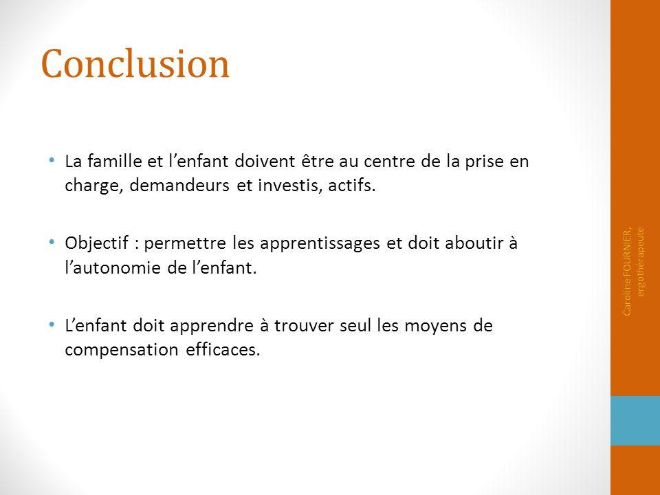 Conclusion La famille et l'enfant doivent être au centre de la prise en charge, demandeurs et investis, actifs. Objectif : permettre les apprentissage
