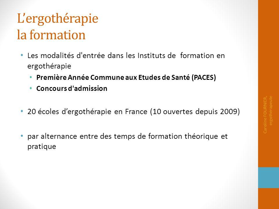 L'ergothérapie la formation Les modalités d'entrée dans les Instituts de formation en ergothérapie Première Année Commune aux Etudes de Santé (PACES)