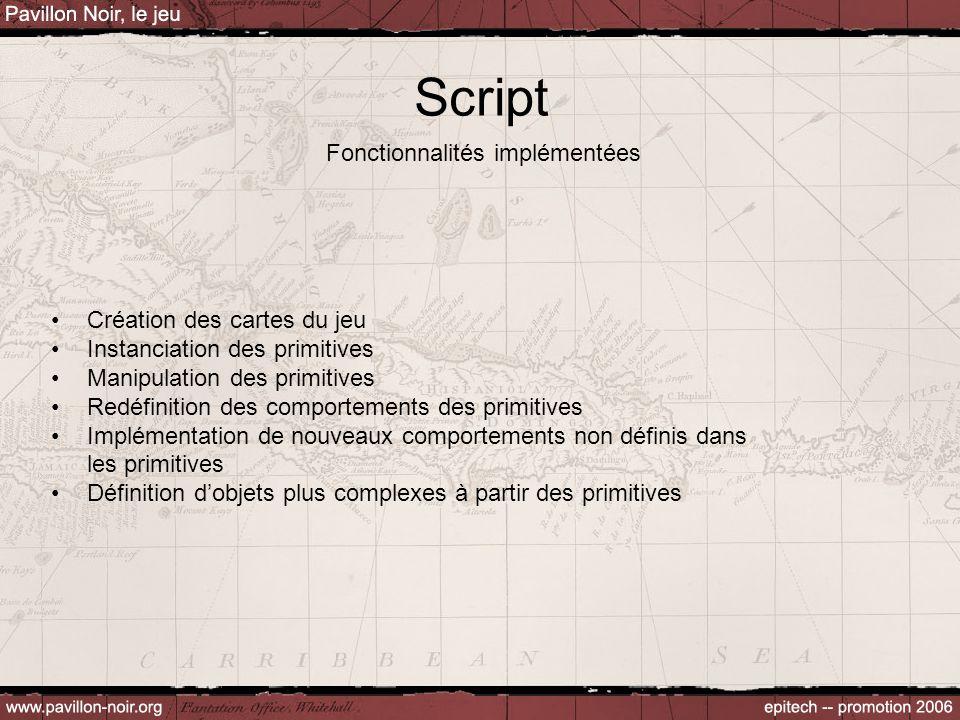 Script Fonctionnalités implémentées Création des cartes du jeu Instanciation des primitives Manipulation des primitives Redéfinition des comportements