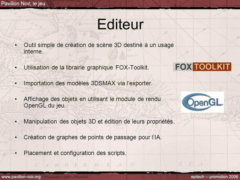 Editeur Outil simple de création de scène 3D destiné à un usage interne. Utilisation de la librairie graphique FOX-Toolkit. Importation des modèles 3D