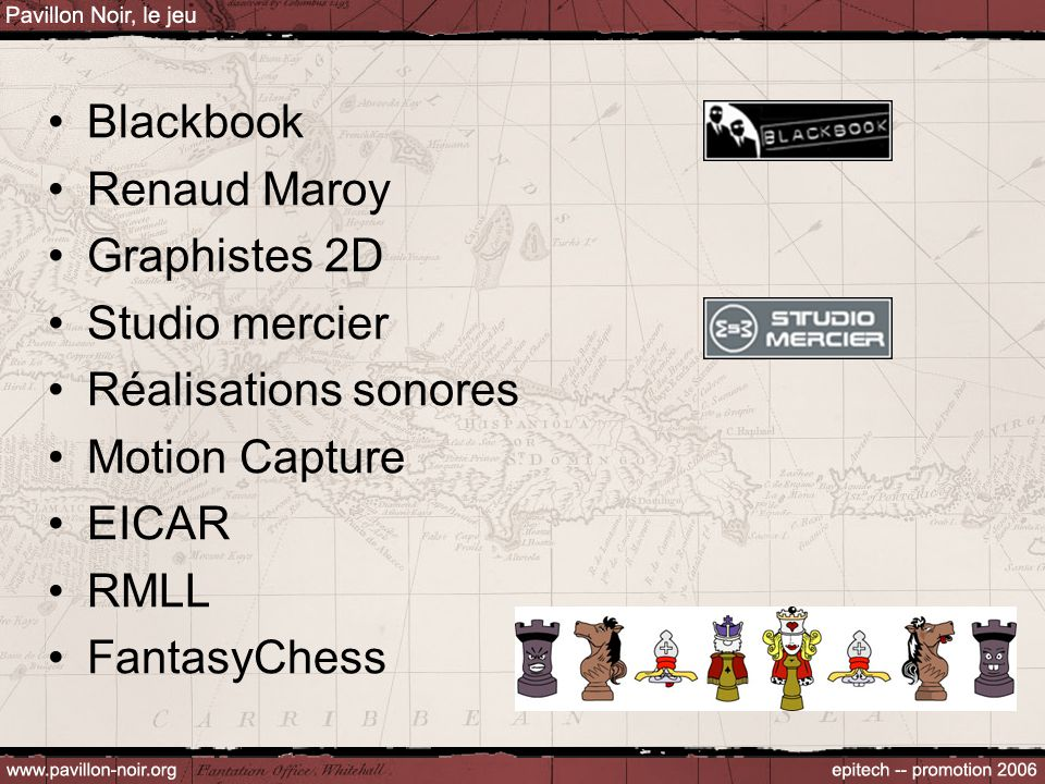 Blackbook Renaud Maroy Graphistes 2D Studio mercier Réalisations sonores Motion Capture EICAR RMLL FantasyChess