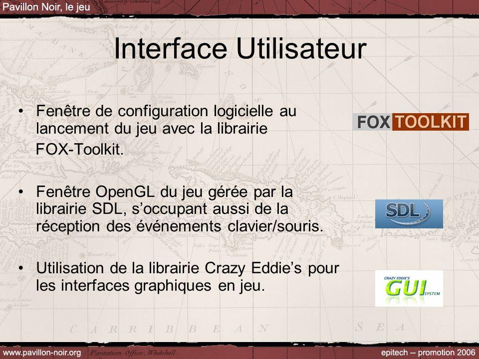Interface Utilisateur Fenêtre de configuration logicielle au lancement du jeu avec la librairie FOX-Toolkit. Fenêtre OpenGL du jeu gérée par la librai
