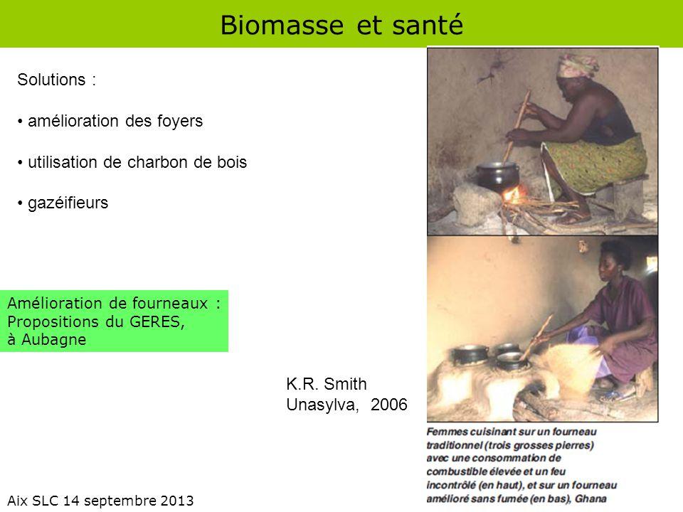 Biomasse et santé Aix SLC 14 septembre 2013 K.R. Smith Unasylva, 2006 Amélioration de fourneaux : Propositions du GERES, à Aubagne Solutions : amélior