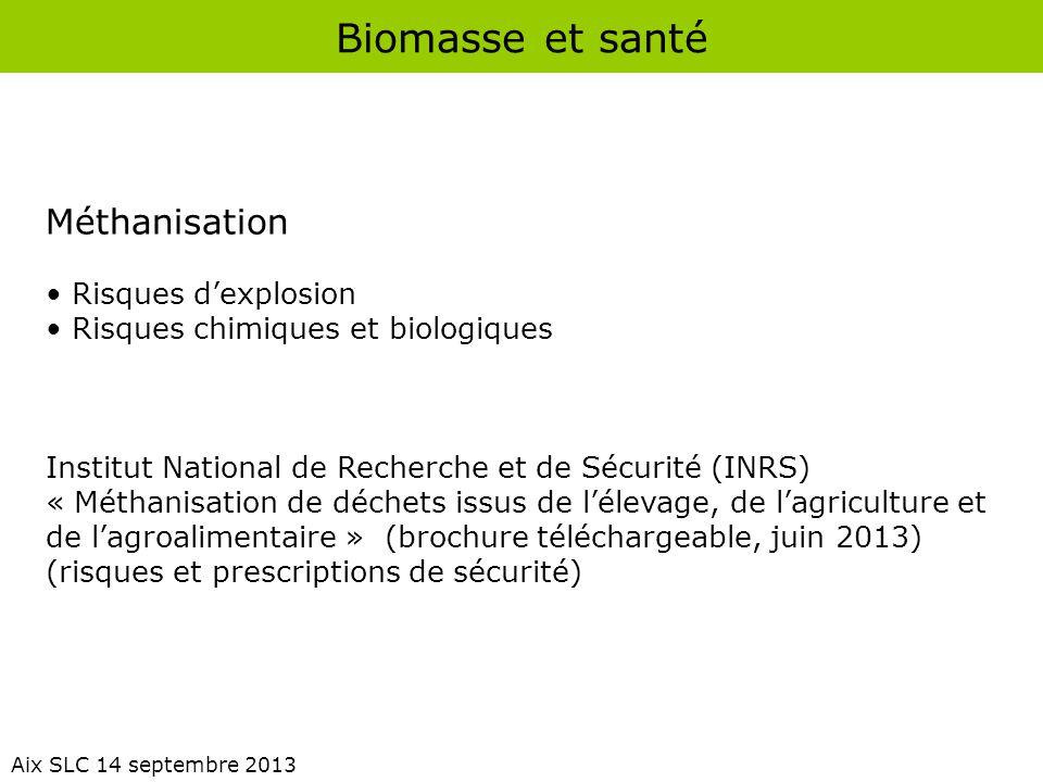 Biomasse et santé Aix SLC 14 septembre 2013 Méthanisation Risques d'explosion Risques chimiques et biologiques Institut National de Recherche et de Sé