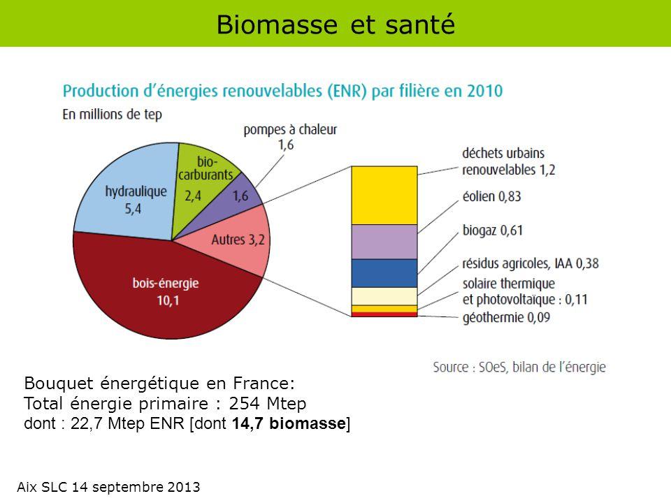 Biomasse et santé Bouquet énergétique en France: Total énergie primaire : 254 Mtep dont : 22,7 Mtep ENR [dont 14,7 biomasse] Aix SLC 14 septembre 2013