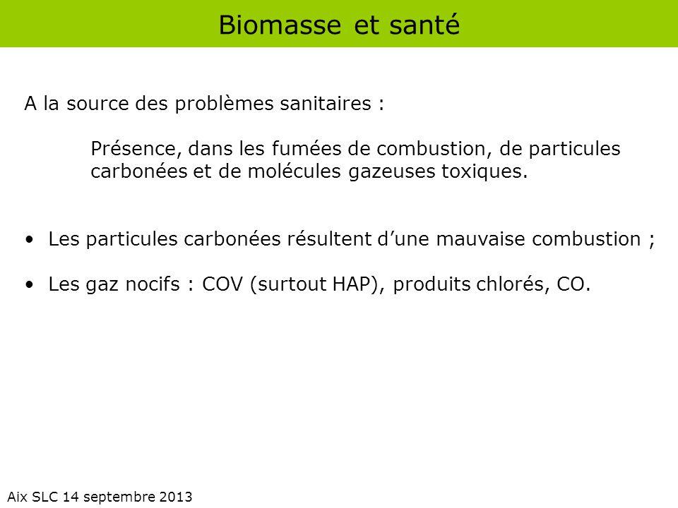 Biomasse et santé Aix SLC 14 septembre 2013 A la source des problèmes sanitaires : Présence, dans les fumées de combustion, de particules carbonées et