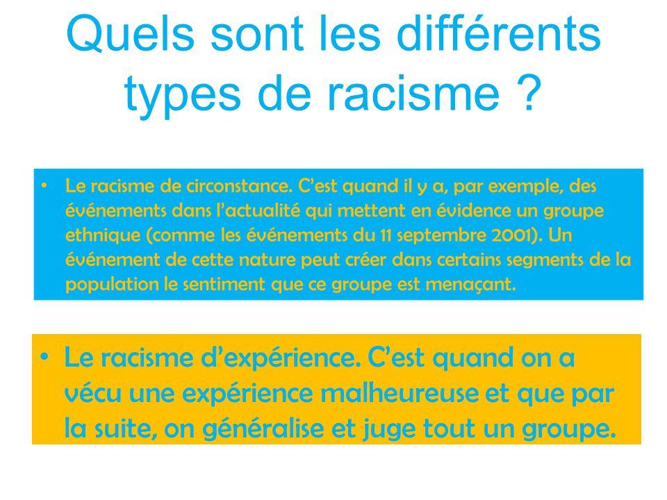 Quels sont les différents types de racisme ? Le racisme d'expérience. C'est quand on a vécu une expérience malheureuse et que par la suite, on général