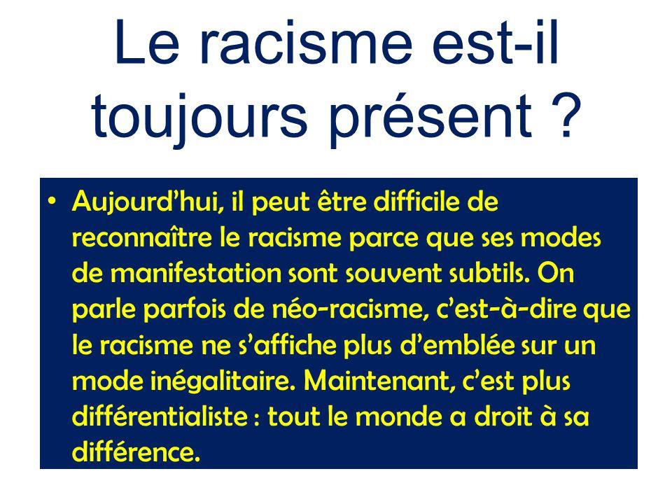 Le racisme est-il toujours présent ? Aujourd'hui, il peut être difficile de reconnaître le racisme parce que ses modes de manifestation sont souvent s