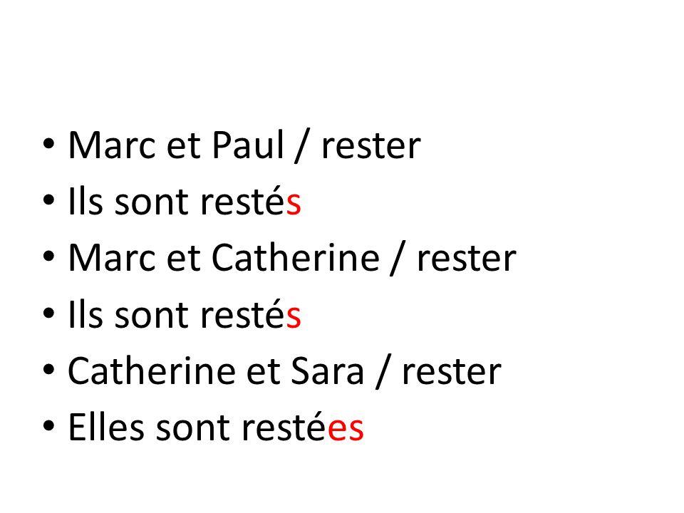 Marc et Paul / rester Ils sont restés Marc et Catherine / rester Ils sont restés Catherine et Sara / rester Elles sont restées