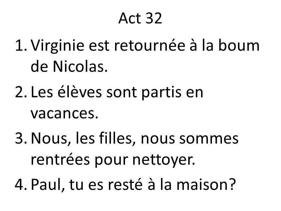 Act 32 1.Virginie est retournée à la boum de Nicolas. 2.Les élèves sont partis en vacances. 3.Nous, les filles, nous sommes rentrées pour nettoyer. 4.
