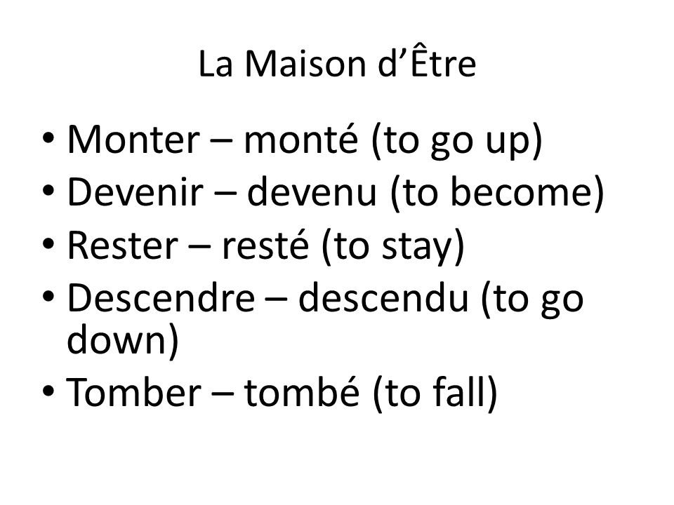 La Maison d'Être Sortir – sorti (to go out) Partir – parti (to leave) Passer par – passé (to pass by) Mourir – mort (to die)