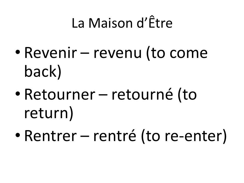 La Maison d'Être Revenir – revenu (to come back) Retourner – retourné (to return) Rentrer – rentré (to re-enter)