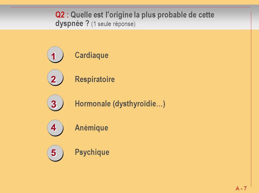 1 1 2 2 3 3 4 4 5 5 Q2 : Quelle est l'origine la plus probable de cette dyspnée ? (1 seule réponse) Cardiaque Respiratoire Hormonale (dysthyroïdie…) A