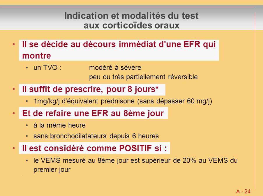 Il se décide au décours immédiat d'une EFR qui montre un TVO :modéré à sévère peu ou très partiellement réversible Il suffit de prescrire, pour 8 jour