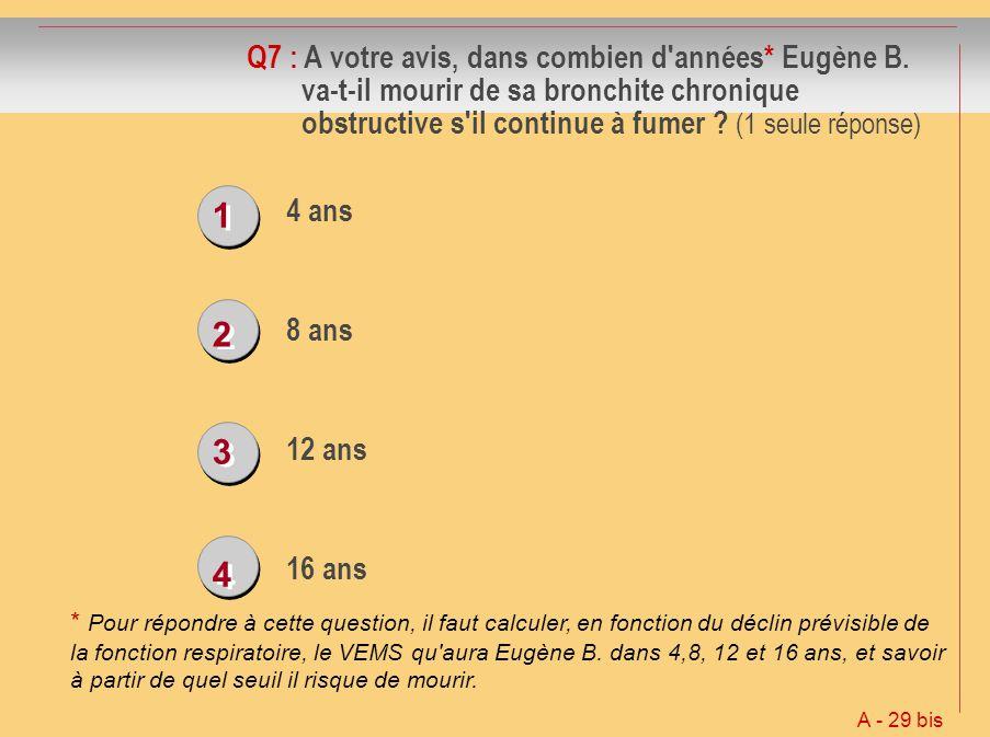 1 1 2 2 3 3 4 4 Q7 : A votre avis, dans combien d'années* Eugène B. va-t-il mourir de sa bronchite chronique obstructive s'il continue à fumer ? (1 se