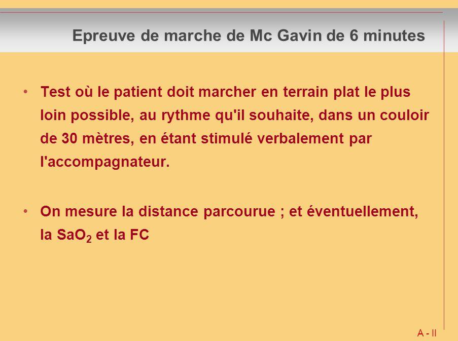 Epreuve de marche de Mc Gavin de 6 minutes Test où le patient doit marcher en terrain plat le plus loin possible, au rythme qu'il souhaite, dans un co