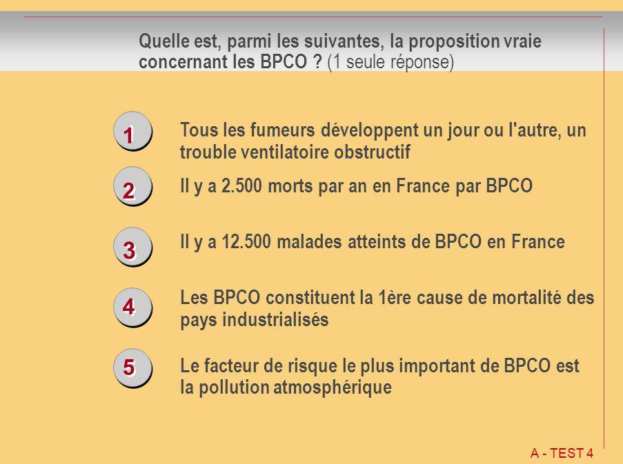 1 1 2 2 3 3 4 4 5 5 Quelle est, parmi les suivantes, la proposition vraie concernant les BPCO ? (1 seule réponse) Tous les fumeurs développent un jour