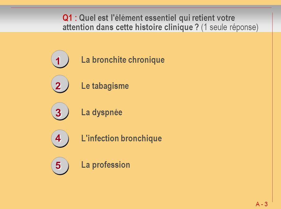 1 1 2 2 3 3 4 4 5 5 Q1 : Quel est l'élément essentiel qui retient votre attention dans cette histoire clinique ? (1 seule réponse) La bronchite chroni