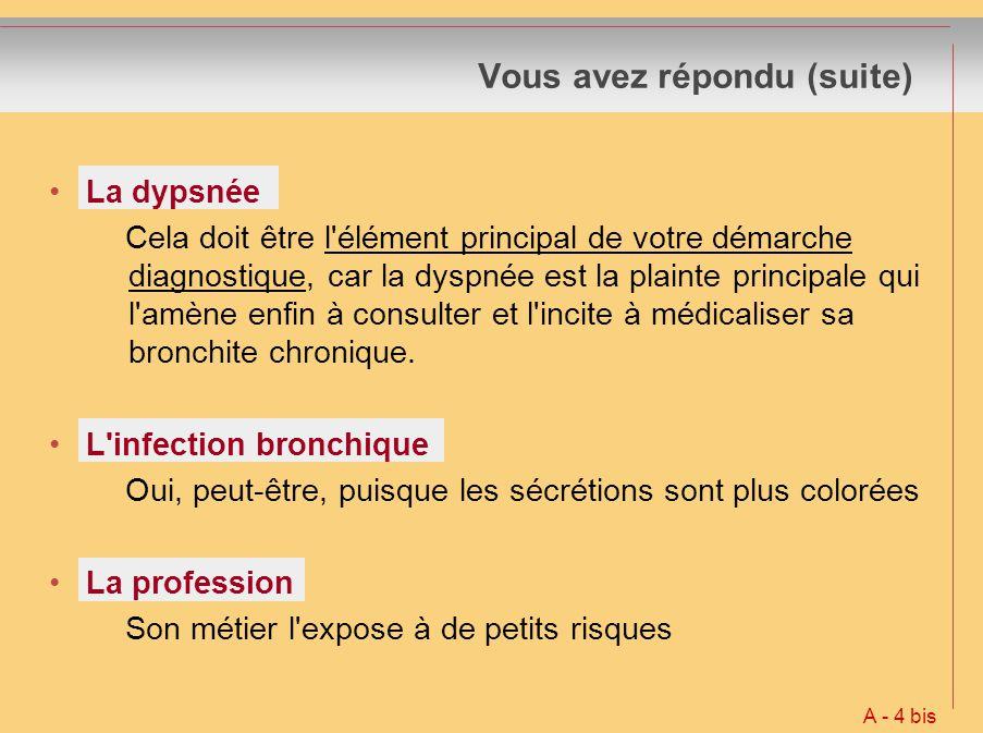 Vous avez répondu (suite) Test de transfert de l oxyde de carbone (TLCO) NON, dans le cas général car : infaisable chez les malades les plus graves ne permet qu une quantification approximative et globale du degré d emphysème, mais sans spécificité et ans conséquences pratiques ce qui explique pourquoi cet examen est peu pratiqué en France dans cette indication Test de consommation maximale d oxygène (VO² max) NON, inutile pour un diagnostic Surtout utile en cas de rééducation à l exercice A - 20 bis