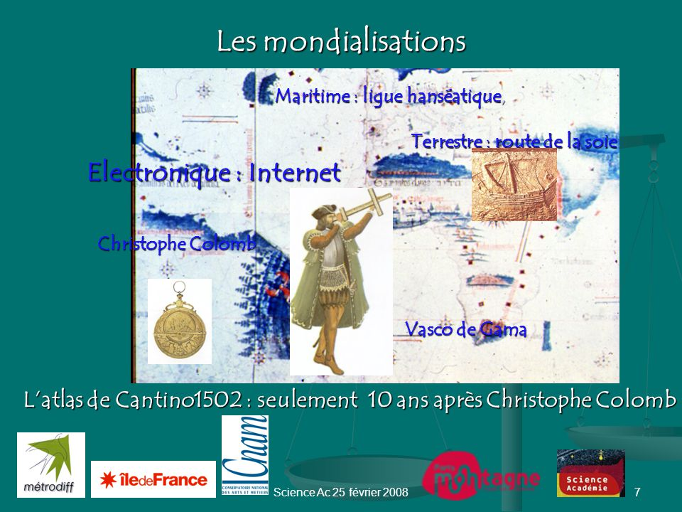 Science Ac 25 février 20087 Les mondialisations L'atlas de Cantino1502 : seulement 10 ans après Christophe Colomb Terrestre : route de la soie Vasco de Gama Vasco de Gama Maritime : ligue hanséatique, Electronique : Internet Christophe Colomb Christophe Colomb