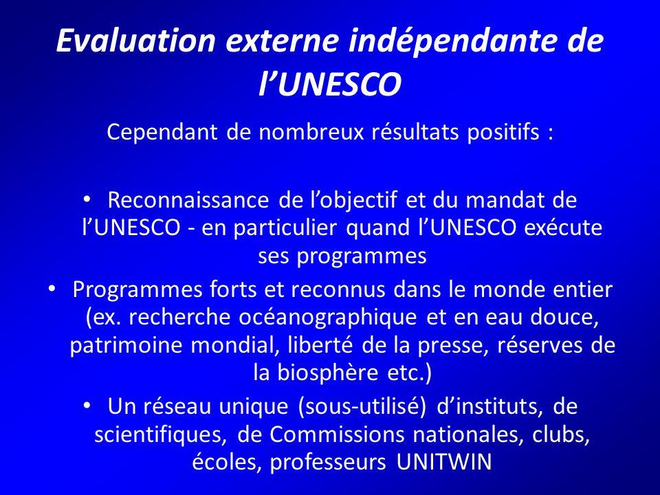 Evaluation externe indépendante de l'UNESCO Cependant de nombreux résultats positifs : Reconnaissance de l'objectif et du mandat de l'UNESCO - en particulier quand l'UNESCO exécute ses programmes Programmes forts et reconnus dans le monde entier (ex.
