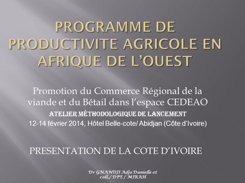 Dr GNANDJI Adjo Danielle et coll./ DPE / MIRAH Promotion du Commerce Régional de la viande et du Bétail dans l'espace CEDEAO Atelier méthodologique de