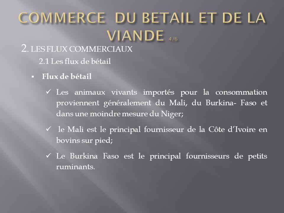 2. LES FLUX COMMERCIAUX 2.1 Les flux de bétail  Flux de bétail Les animaux vivants importés pour la consommation proviennent généralement du Mali, du