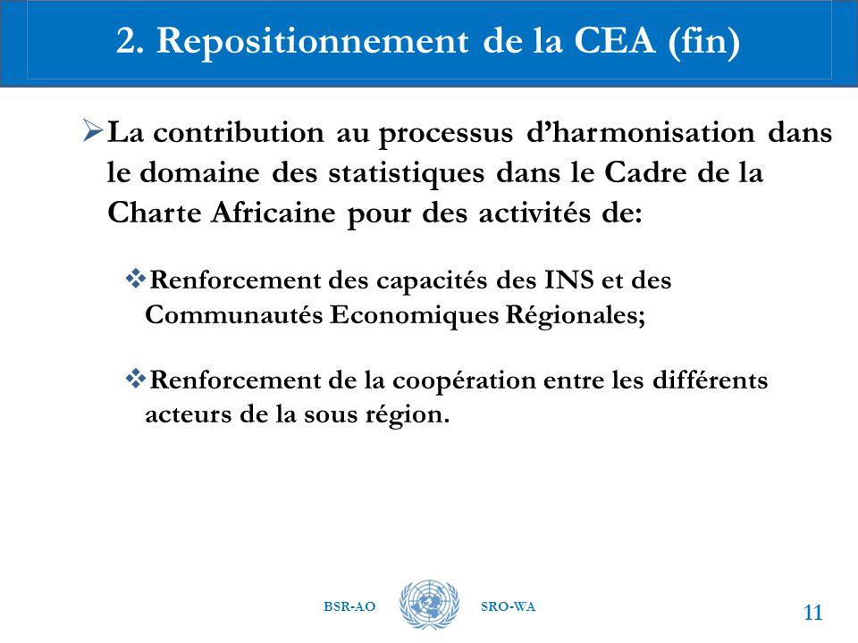 BSR-AOSRO-WA  La contribution au processus d'harmonisation dans le domaine des statistiques dans le Cadre de la Charte Africaine pour des activités de:  Renforcement des capacités des INS et des Communautés Economiques Régionales;  Renforcement de la coopération entre les différents acteurs de la sous région.