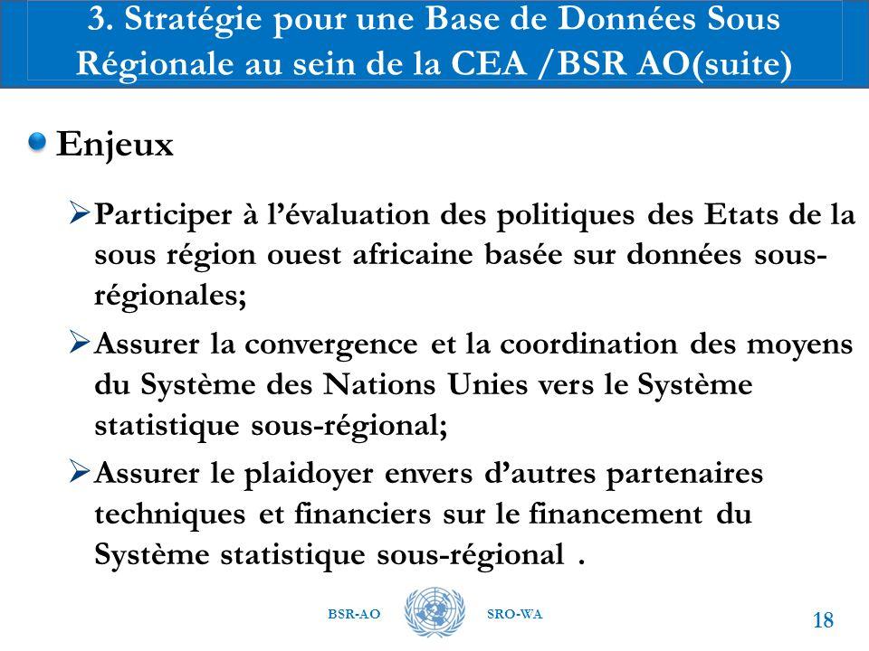 BSR-AOSRO-WA Enjeux  Participer à l'évaluation des politiques des Etats de la sous région ouest africaine basée sur données sous- régionales;  Assurer la convergence et la coordination des moyens du Système des Nations Unies vers le Système statistique sous-régional;  Assurer le plaidoyer envers d'autres partenaires techniques et financiers sur le financement du Système statistique sous-régional.